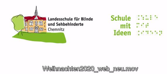"""Startseite mit dem Logo der Schule und dem Schriftzug """"Schule mit Ideen"""" in Schwarzschrift und Braille"""